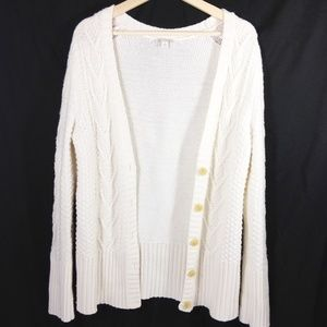 Gap Creamy White Cable Knit Cardigan L